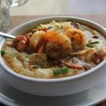Shrimp and grits with bacon and gruyere.
